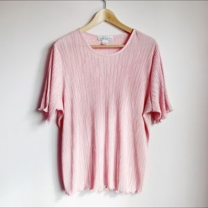 Loose fit crinkle texture shirt sleeve blouse